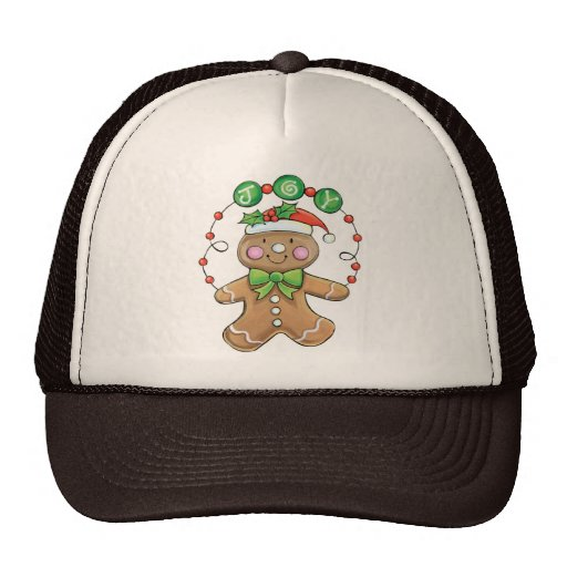 "Gingerbread Man ""Joy"" for Christmas Mesh Hats"