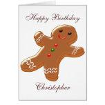 Gingerbread Man Just Add Name Birthday Greeting Card