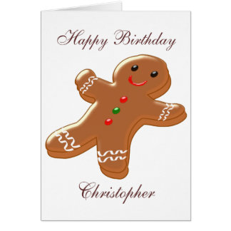 Gingerbread Man Just Add Name Birthday Card