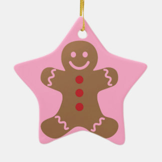 Gingerbread Man Kids, Candy, Cookies, Fun! Sweet Double-Sided Star Ceramic Christmas Ornament