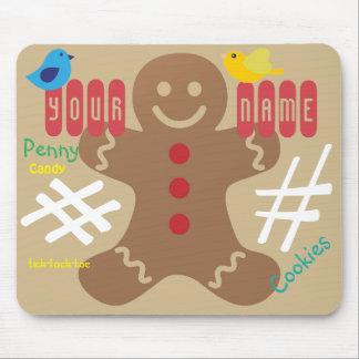 Gingerbread Man Kids, Candy, Tick Tack Toe, Fun! Mouse Pad