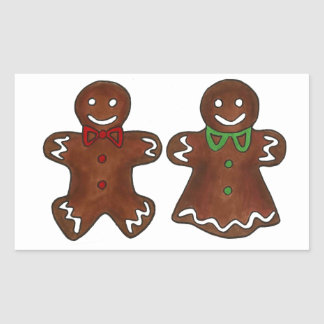 Gingerbread Man Lady Woman Christmas Xmas Cookie Rectangular Sticker