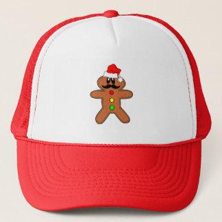 gingerbread man mustache trucker hat