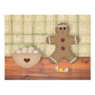 "Gingerbread Man ""Oops"" Recipe Card Postcards"