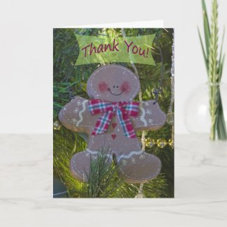 Gingerbread Man Ornament Thank You Card card