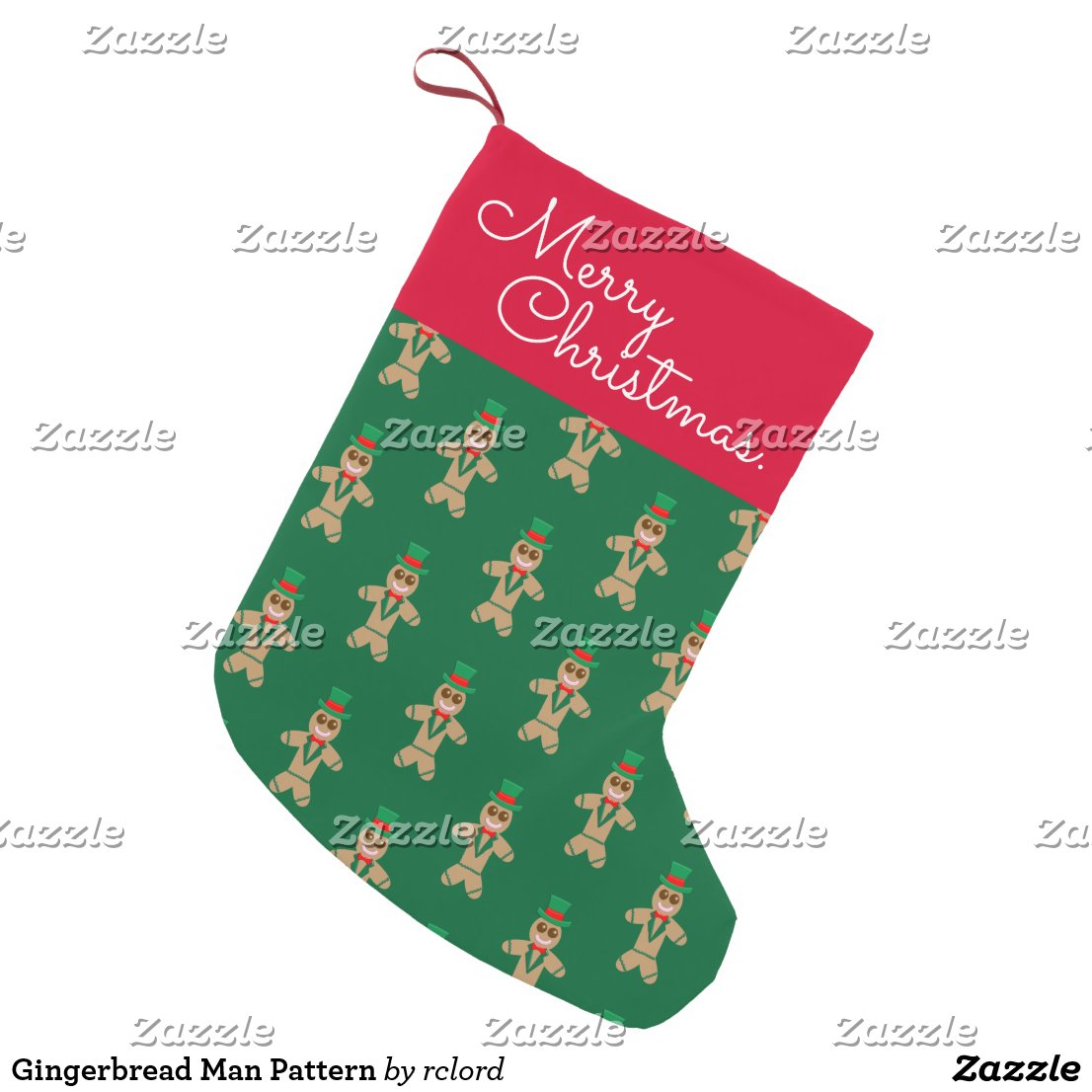 Gingerbread Man Pattern Small Christmas Stocking