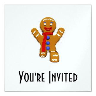 Gingerbread Man - Perfect Landing 5.25x5.25 Square Paper Invitation Card