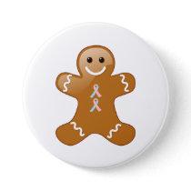 Gingerbread Man Pink &Light Blue Awareness Ribbons Button