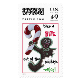 gingerbread man postage stamps