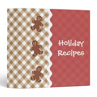 Gingerbread Man Red and Tan Holiday Binder