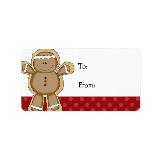 Gingerbread Man Red Polka Dot Christmas Gift Tags Label | Zazzle