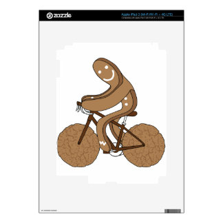 Gingerbread Man Riding Bike With Gingersnap Cookie Decals For iPad 3