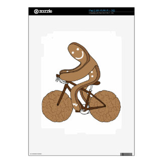 Gingerbread Man Riding Bike With Gingersnap Cookie iPad 2 Skins
