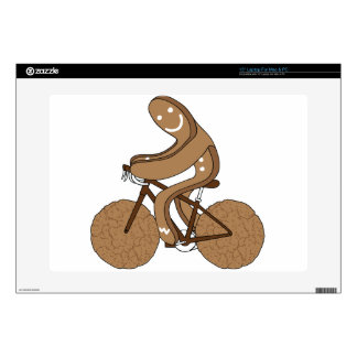 """Gingerbread Man Riding Bike With Gingersnap Cookie Skin For 15"""" Laptop"""