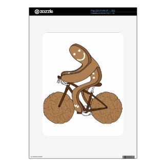 Gingerbread Man Riding Bike With Gingersnap Cookie Skins For iPad