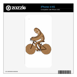 Gingerbread Man Riding Bike With Gingersnap Cookie Skins For The iPhone 4