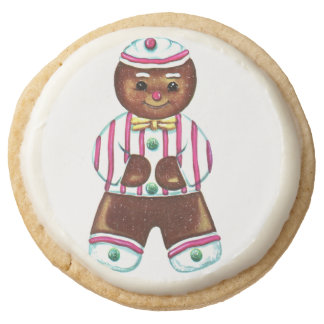 Gingerbread Man Round Shortbread Cookie