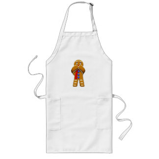 Gingerbread Man - Scared - Original Colors Long Apron
