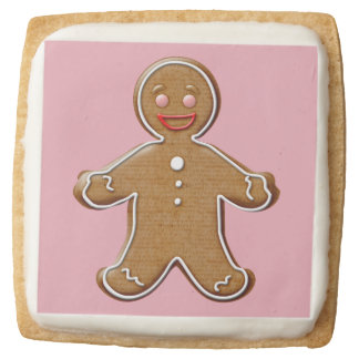 Gingerbread man square shortbread cookies