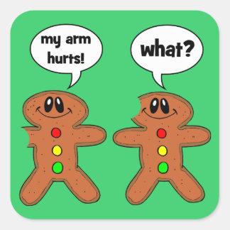 gingerbread man square sticker