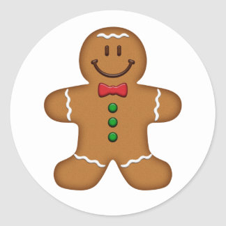 Gingerbread Man Round Stickers