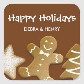 Gingerbread man sugar cookie holiday brown tag sticker