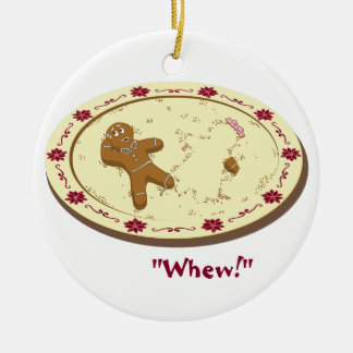 Gingerbread Man Survives! Double-Sided Ceramic Round Christmas Ornament