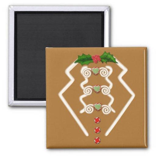 Gingerbread Man Tuxedo Fridge Magnets