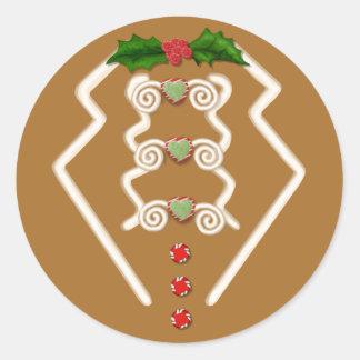 Gingerbread Man Tuxedo Round Sticker