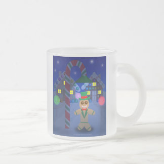 Gingerbread Man under Candy Lamp 10 Oz Frosted Glass Coffee Mug