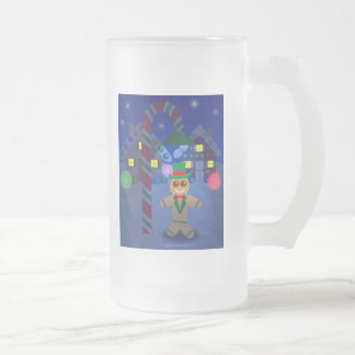 Gingerbread Man under Candy Lamp 16 Oz Frosted Glass Beer Mug