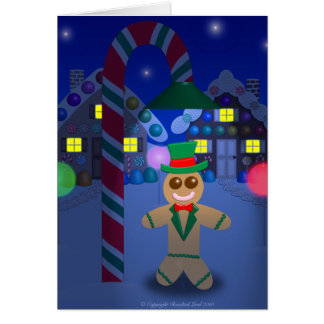 Gingerbread Man under Candy Lamp Greeting Card