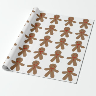 Gingerbread Man Wearing a Bow Tie Wrapping Paper