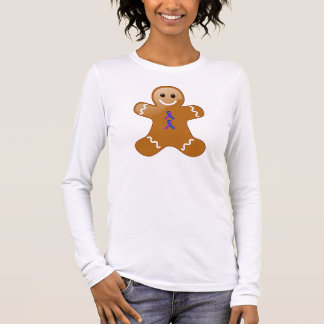 Gingerbread Man with Blue and Purple Ribbons Long Sleeve T-Shirt