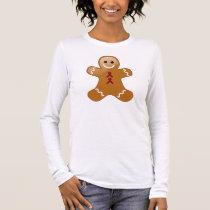 Gingerbread Man with Burgandy Ribbons Long Sleeve T-Shirt