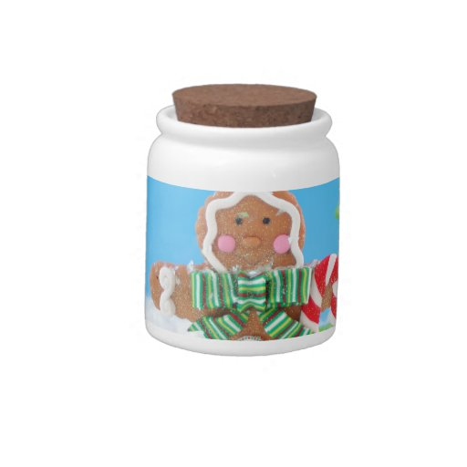 gingerbread man with candy cane candy dish