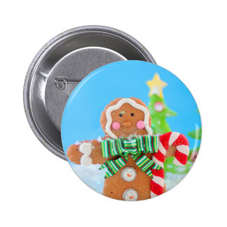 Gingerbread man with candy cane pinback button