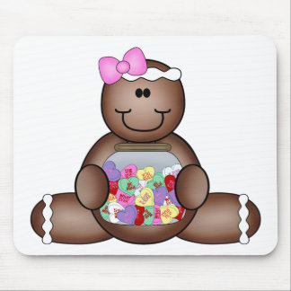 GINGERBREAD man with CANDY jar hearts Mouse Pad