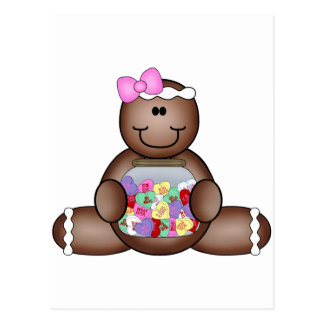 GINGERBREAD man with CANDY jar hearts Postcard