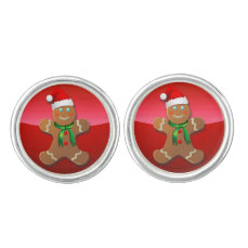 Gingerbread Man With Christmas Hat Cufflinks