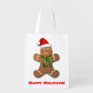 Gingerbread Man With Christmas Hat Reusable Grocery Bag