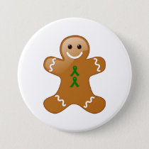 Gingerbread Man with Green Ribbons Button