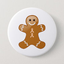 Gingerbread Man with Peach Ribbons Button