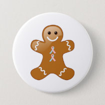 Gingerbread Man with Pink and Light Blue Ribbons Button