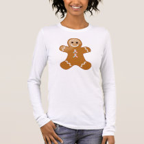 Gingerbread Man with Pink and Light Blue Ribbons Long Sleeve T-Shirt