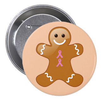 Gingerbread Man with Pink Ribbons Button
