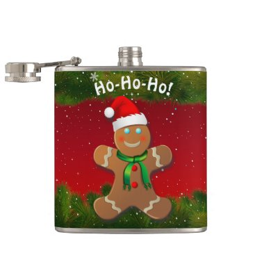 Gingerbread Man With Red Christmas Hat Flask