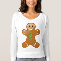 Gingerbread Man with Teal and Lime Green Ribbon T-shirt