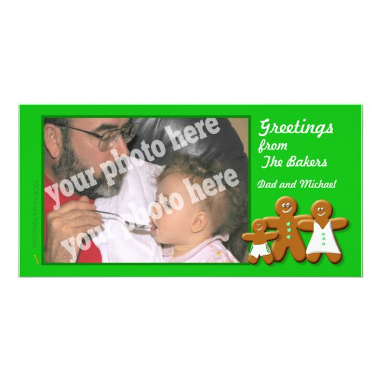 Gingerbread Man, Woman and Boy Photo Card Template