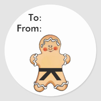 Gingerbread Martial Artist Gift Tags Classic Round Sticker